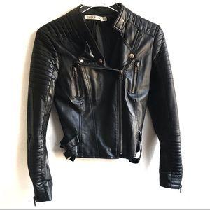 Rehab Black Vegan Leather Motorcycle Zip Up Jacket